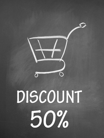 discount 50  and shopping chat  symbol