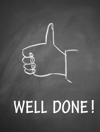 done: well done  and thumb up symbol Stock Photo