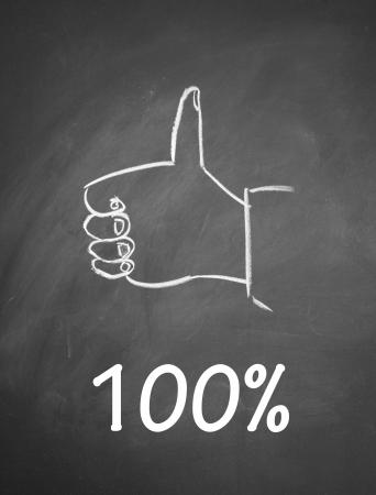 100  and thumb up symbol Stock Photo - 13712223