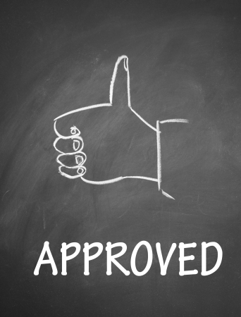 commend: approved and thumb up symbol