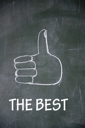 the best and thumb up symbol Stock Photo - 13712254