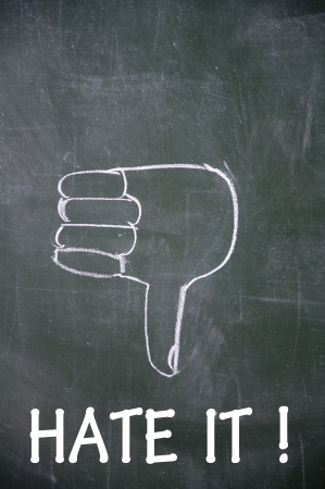 commend: hate it and thumb down symbol  Stock Photo
