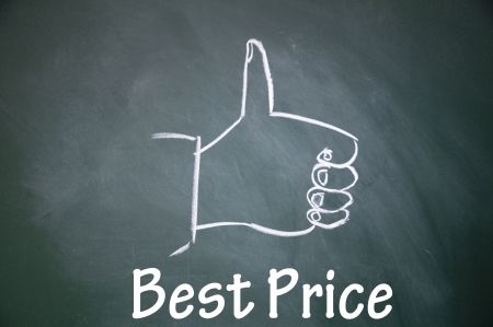 best price and thumb up symbol  photo