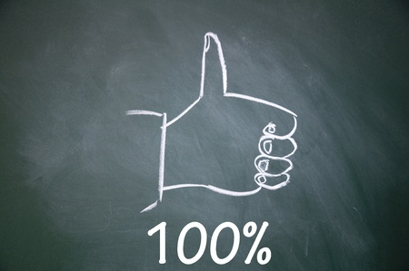 100  and thumb up symbol  Stock Photo - 13712280