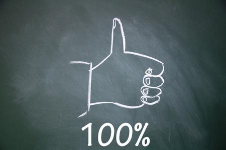 100  and thumb up symbol Stock Photo - 13712280