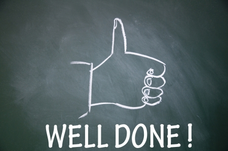 well done  and thumb up symbol Stock Photo - 13712258