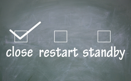 standby: close、restart and standby choice  Stock Photo