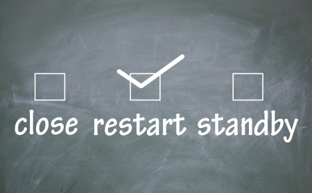 detriment: close、restart and standby choice  Stock Photo