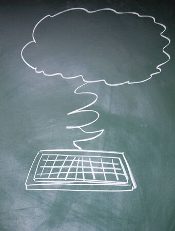 detriment: IT Cloud symbol drawn with chalk on blackboard Stock Photo