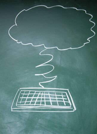 IT Cloud symbol drawn with chalk on blackboard Stock Photo - 13835038