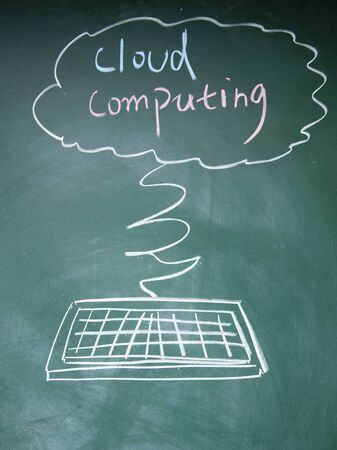 detriment: cloud computing symbol drawn with chalk on blackboard