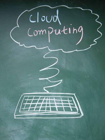 cloud computing symbol drawn with chalk on blackboard Stock Photo - 13835042