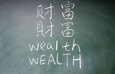 wealth word in Chinese and English written on the chalkboard photo