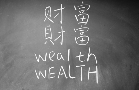 wealth word in Chinese and English written on the chalkboard Stock Photo - 13834542