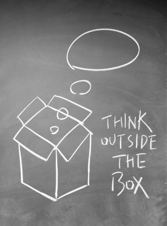 think outside the box: think outside the box symbol