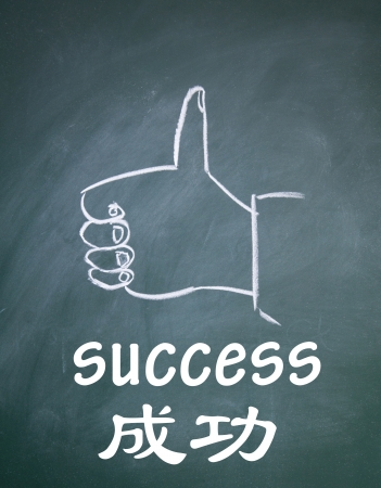 success word written in chinese and engilsh photo