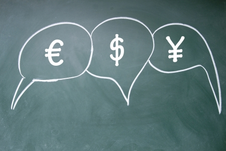euro、dollar and yuan chat symbol photo