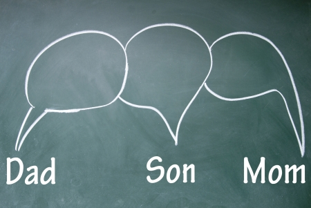 Dad、son and mom chat symbol photo