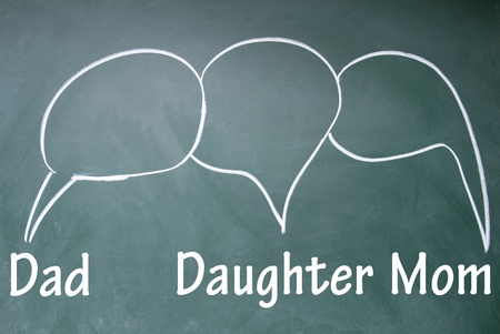 Dad, daughter and mom chat symbol Stock Photo - 13852649