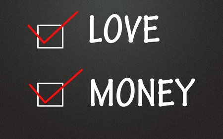 equitable: love and money choice  Stock Photo