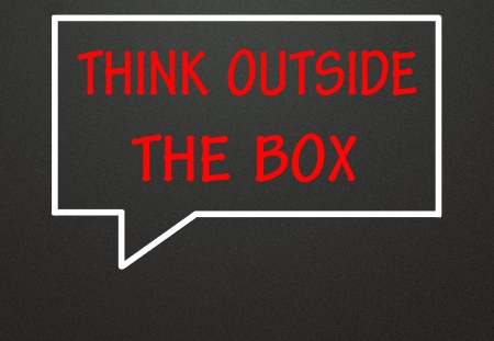 think outside the box and chat symbol  photo