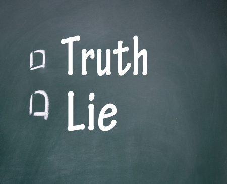 lie: truth and lie choice symbol  Stock Photo