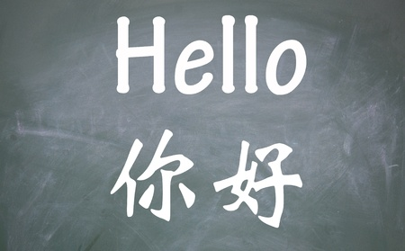 hello word written with chinese and english photo