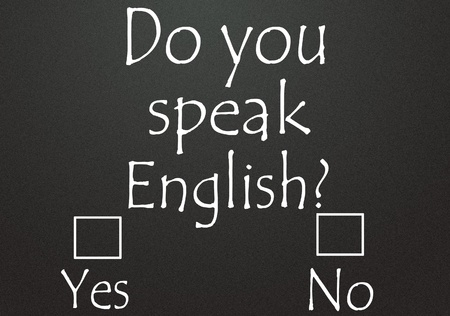 english text: do you speak english  Stock Photo