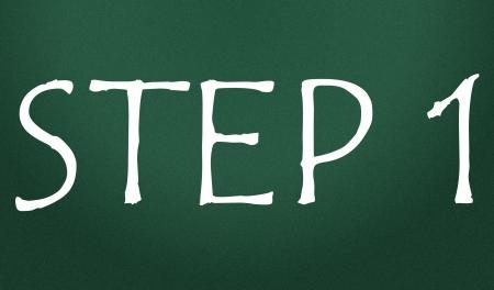 first step: Schritt 1 Symbol