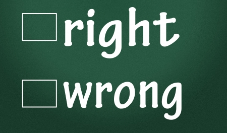 blunder: right and wrong judgment Stock Photo