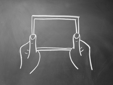 abstract hands holding a tablet computer symbol photo