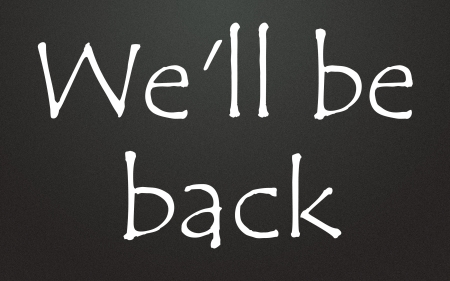 will: we will be back symbol  Stock Photo