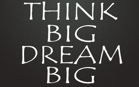 optimistic: think big dream big title Stock Photo