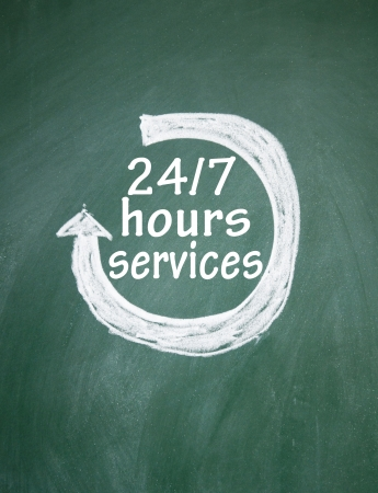 24 7 hours services sign Stock Photo