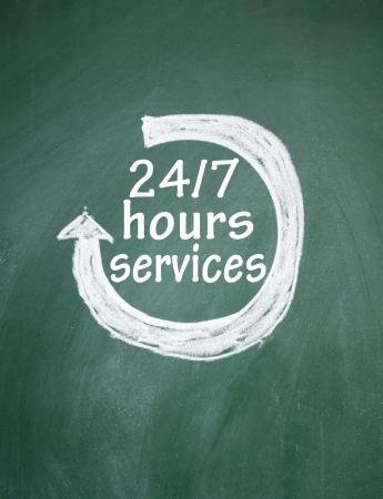 24 7 uur dienstverlening teken Stockfoto - 14974464