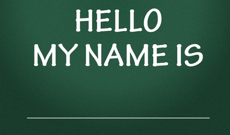 hello my name is title Stock Photo
