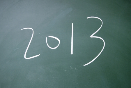 projet: 2013 title written  with chalk on blackboard