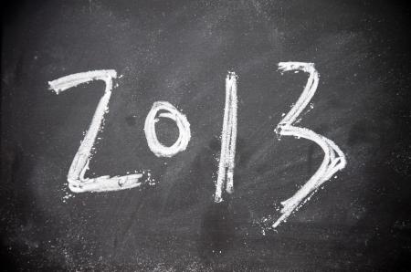 2013 title write with chalk on blackboard