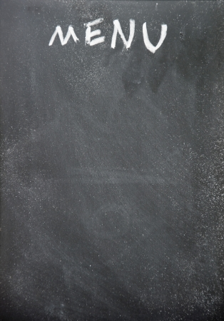 menu title written with chalk on blackboard photo