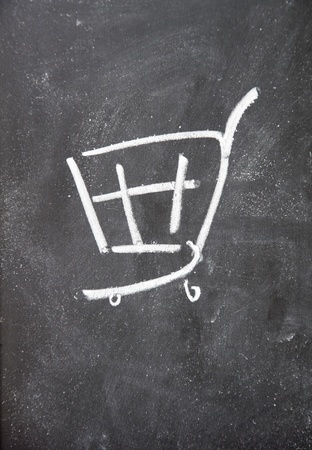 thrifty: Shopping Cart drawn with chalk on blackboard