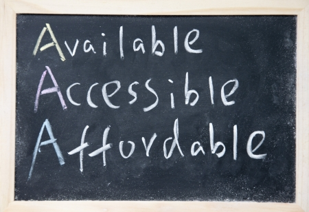 affordable: AAA for available, accessible and affordable