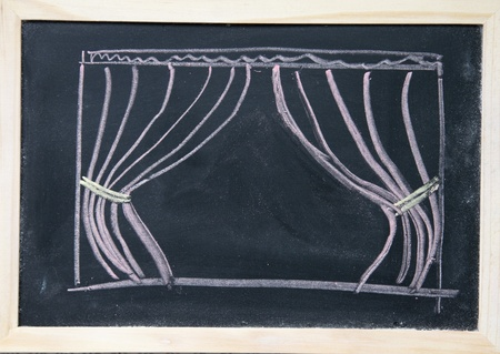 Curtain drawn on the blackboard  photo