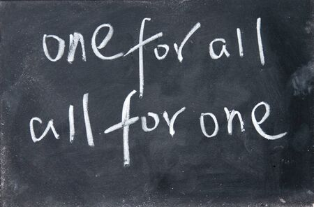 all in one: one for all ,all for one title Stock Photo
