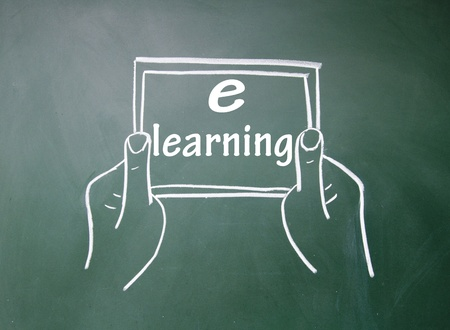 e-learning title and Tablet PC Stock Photo - 16075324