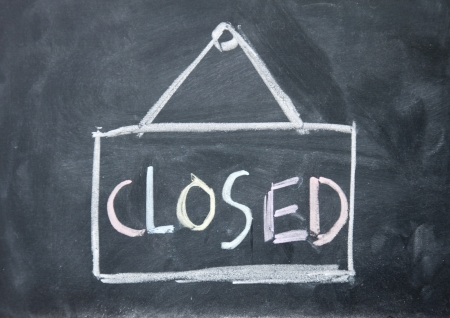 detriment: closed sign Stock Photo