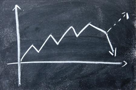 imaginary line: decline chart Stock Photo