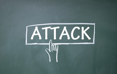 internet attack: abstract finger click attack sign