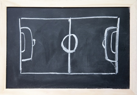 abstract football field drawn with chalk on blackboard photo