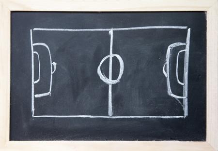 winning pitch: abstract football field drawn with chalk on blackboard