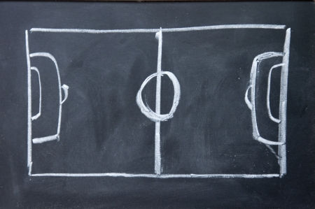 football pitch: abstract football field drawn with chalk on blackboard